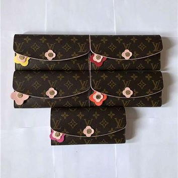 """Louis Vutitton"" Women Purse Retro Fashion Logo Print Flower Multi-card Bit Button  Fold Wallet"