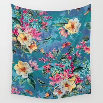 Floral Ocean III Wall Tapestry by Valentinasevza