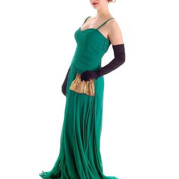 Modern Vera Wang Gown Green Silk Chiffon 1940s Look Size 2 or 4