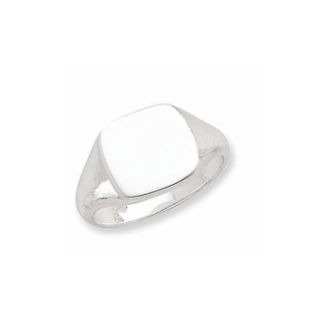 Sterling Silver 12.5x14mm Solid Back Signet Ring , Size: 10