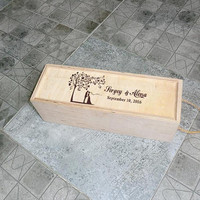 Personalized wedding wine box Wedding wine box Wood Wedding gift idea Gift for couple