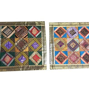 Vintage Silk Cushion Cover Indian Sari Border Patchwork Bohemian Decorative Pillow Cases