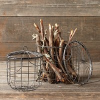 Metal Storage Baskets, Set of 2