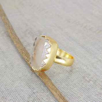 18k Gold Plated Ring - Crystal Quartz Ring - Designer Ring - Raw Gemstone Ring - Clear Quartz Ring - Statement Ring - Birthday Gift Her