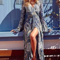 Streetstyle  Casual Blue Boho Print A Line Dress