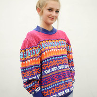 60's psychedelic colorful pullover sweater, vintage 1960s funky pink purple orange, 70s bright pattern, ironic vtg tumblr, urban outfitters