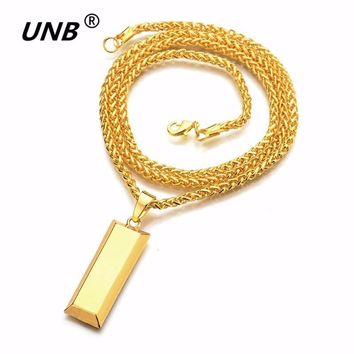 Gold Cube Bar SUP LOGO Necklace & Pendant Hip Hop Jewelry Dance Charm Franco Men Chain Punk Long Chain steampunk Necklaces
