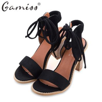 Gamiss Women's Summer Shoes Thick Heel Sandals One-word T-shape Platform Shoes Ankle Strap All Match Female Casual Summer Sandle