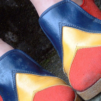 1960s Canvas Shoes Red Blue Yellow Spring by LesleysGirlsVintage