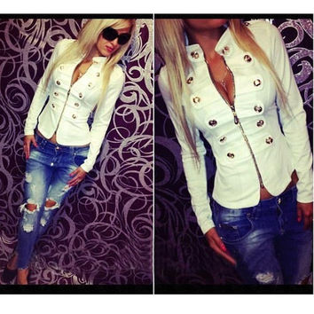 Women's Long Sleeve Metal Buckles Collar Short White Jackets = 1828300164