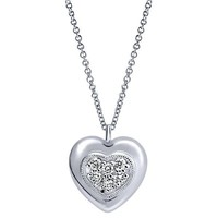 Sterling Silver Heart Necklace with Pave Diamond Cluster Center