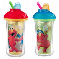 Munchkin Sesame Street Click Lock Insulated Straw Cup 9oz - 2pk (Colors/Styles May Vary)