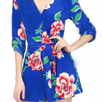 Blue Floral V-neck Surplice Romper with Sleeve