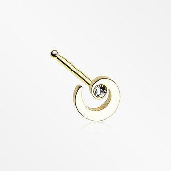 Golden Spiral Swirl Sparkle Nose Stud Ring