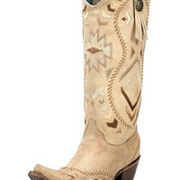 Women's Tan Ethnic Pattern Boot - C2923