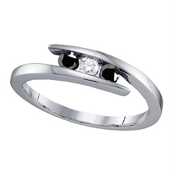 Sterling Silver Women's Round Black Color Enhanced Diamond 3-stone Bridal Wedding Engagement Ring 1/4 Cttw - FREE Shipping (US/CAN)
