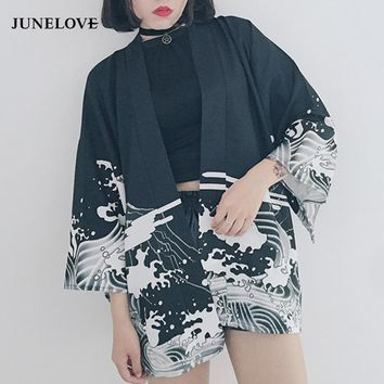 JuneLove 2018 summer Japan style print vintage Harajuku Style Blouse Waves and Wind Dragon Shirts Japanese batwing sleeve kimono