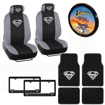 Licensed Official New Superman Silver Shield Car Truck 2 Front Seat Covers & Steering Wheel Cover
