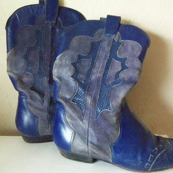 Blue Cowgirl Boots Vintage Bright Blue by TheTravelingOwlShop