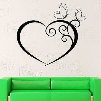 Wall Sticker Vinyl Decal Heart And Butterfly Romantic Bedroom Decor  Unique Gift (z1005m)