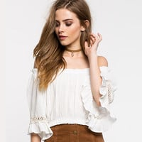 Solid Color Fashion Off Shoulder Short Sleeve Frills Women T-shirt Crop Tops
