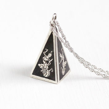 Vintage Sterling Silver Siam Pendant Necklace - 1940s Unique 3-D Pyramid Charm Fob Niello Dancing Goddesses Thailand Statement Jewelry