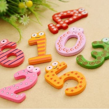 Set of 10 Number Wooden Fridge Magnets Educational Toys Children's Gifts PopAUTO