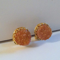 Sparkling Peach Champagne Druzy Cabochon Gold Crown Earring Stud Posts