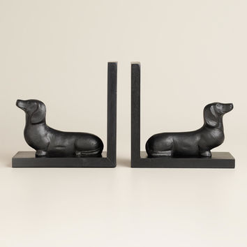 Hand-Painted Wood Dachshund Bookends, Set of 2 - World Market
