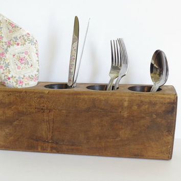 vintage sugar mold // rustic wood utensil holder // antique sugar mold // vintage candle holder // wedding table decor // 4 hole sugar mold