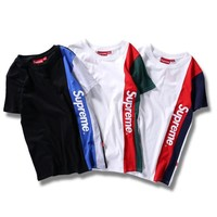 Supreme short sleeves Letters print splicing color Loose  T-shirt top