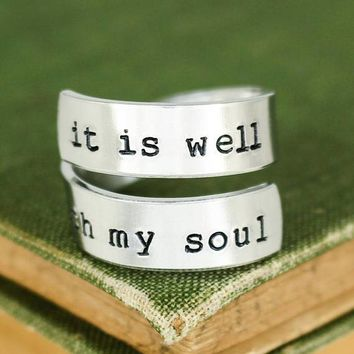 It Is Well With My Soul Ring - Wrap Ring - Twist Ring - Affirmation Ring - Adjustable Aluminum Ring