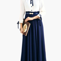 White and Blue Tie Collar Pleated Midi Dress