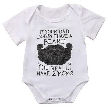 2017 Lovable Beard Print Infant Baby Girls Funny Romper Jumpsuit Clothes Sunsuit Outfits