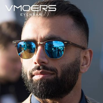 VMOERS Male Semi Rimless Retro Sunglasses Men Polarized 100% UV400