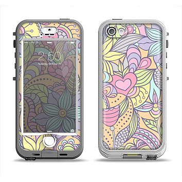The Vibrant Color Floral Pattern Apple iPhone 5-5s LifeProof Nuud Case Skin Set