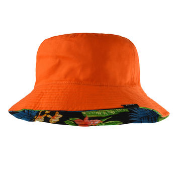 Reversible Hibiscus Orange Bucket Hat