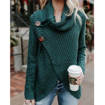 MIAOQING Casual Female Thick Knitting Cardigan Scarf Neck Irregular Tops Buttons Streetwear Women Solider Color Sweater Hot Sell