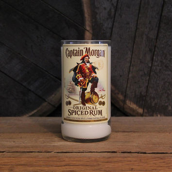 Captain Morgan Rum Candle Groomsmen Gift, Anniversary Gift, 1L 22oz, Gift for Guys, Rum Bottle Soy Wax Upcycled Candle Custom, Handmade