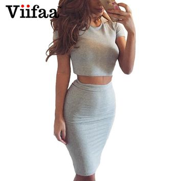 Viifaa 2017 Summer Women Club Dress Two Piece Outfits Bodycon Midi Dress Sexy Party Night Club Vestidos Gray Dresses