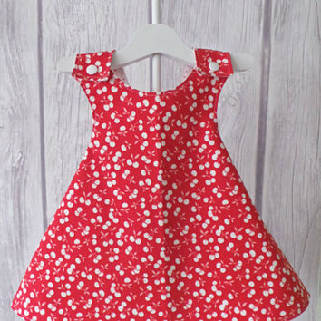 Reversible Pinny Dress / Baby Dress / Vintage Baby / Pinafore Dress / Red, Pink and Wite / Cherries and Polka Dots / Size 6 Months