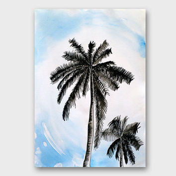 PALM tree art Landscape black and white Palm tree drawing Original watercolor ink art Ink painting Original painting Black white wall art