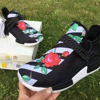 PEAPNO ADIDAS X BAPE PW HUMAN RACE NMD_R1 BB0622 BOOST BLACK-GREEN-ROSE Running shoes for Wom
