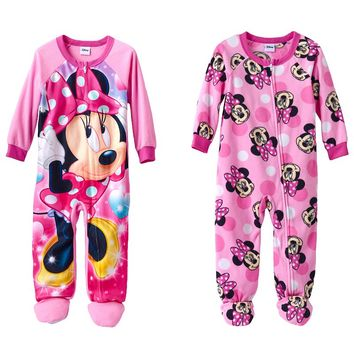 Disney Minnie Mouse Fleece Footed Pajama Set - Toddler