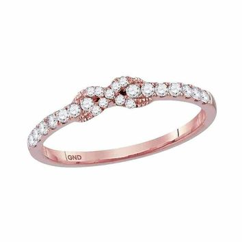 10k Rose Gold Women's Diamond Infinity Knot Stackable Ring - FREE Shipping (US/CA)