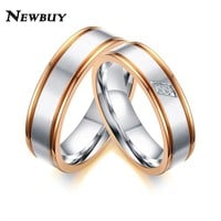 NEWBUY 2017 Fashion Rose Gold Color Engagement Promise Ring For Lovers Luxury Cubic Zirconia Couple Wedding Jewelry