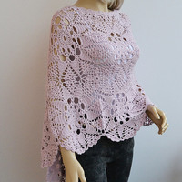 Lovely powder pink crochet poncho womans tank romantic feminine Clothing Women's unique gifts