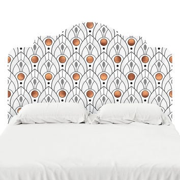 Art Deco Leaves Headboard Decal