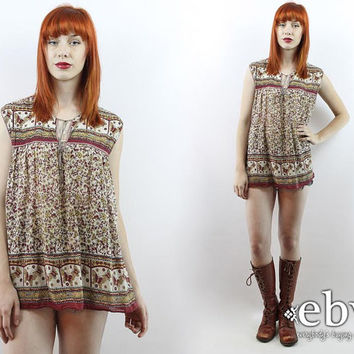 Vintage Indian Tunic Hippie Tunic Cotton Gauze Blouse Vintage 70s Hippie Boho India Babydoll Tunic Top Hippie Top India Top Butterfly Top