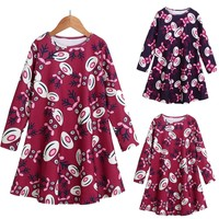 Toddler Kid Baby Girls Christmas deer Printed Clothes Long Sleeve Party Princess Dress cotton winter casual costume outfit wear